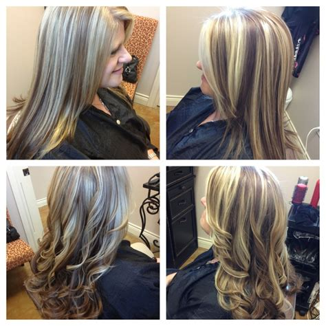 long layered highlighted hairstyles blonde bold highlights long layered haircut hair