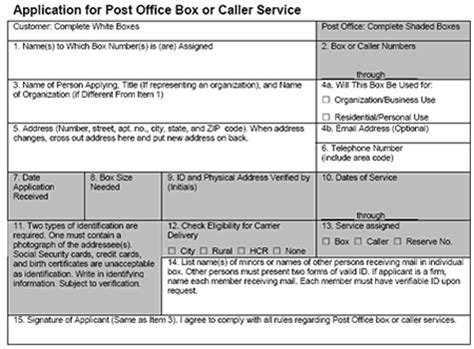 Post Office Assessment by Application For Post Office Box Or Caller Service Complete
