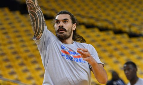 steven adams tattoo thunder fan wears mustache and hair