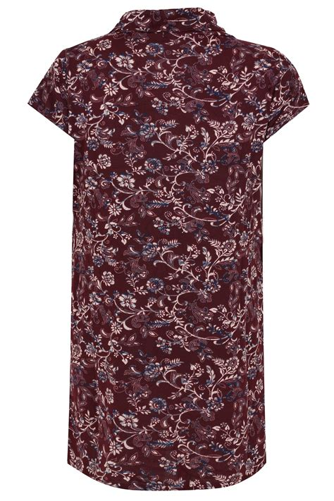 Vanilla Visa Gift Card International Use - blue vanilla curve burgundy floral print textured dress with roll neck plus size 18 to 28