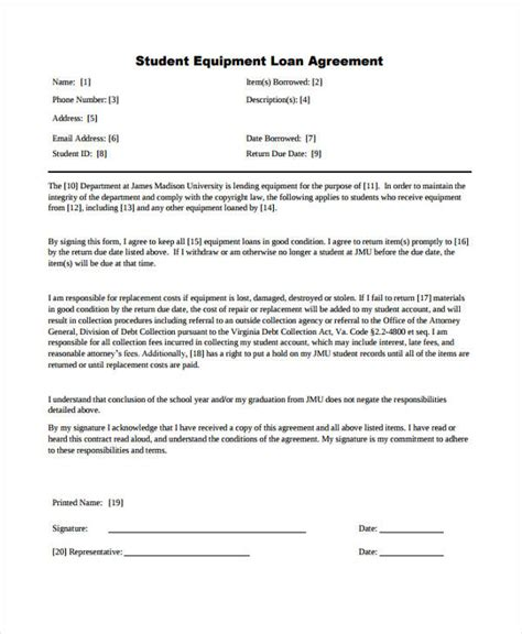 student loan agreement template loan agreement form exle 65 free documents in word pdf