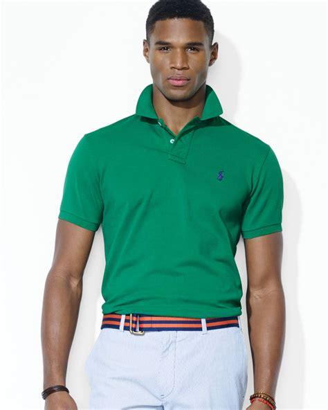 Polo Shirt Polo Raphl Custom Tshirt Polo ralph polo customfit stretchmesh polo shirt in green for lyst