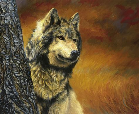 Gray Paint by Gray Wolf Painting By Lucie Bilodeau