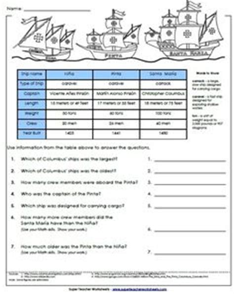 christopher columbus biography for 5th grade 1000 images about columbus day worksheets printables on