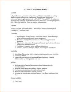 statement of qualifications template statement of qualifications exle sle resume