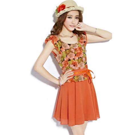 Ransel Korea Bunga Import dress wanita korea motif bunga d1398 moro fashion