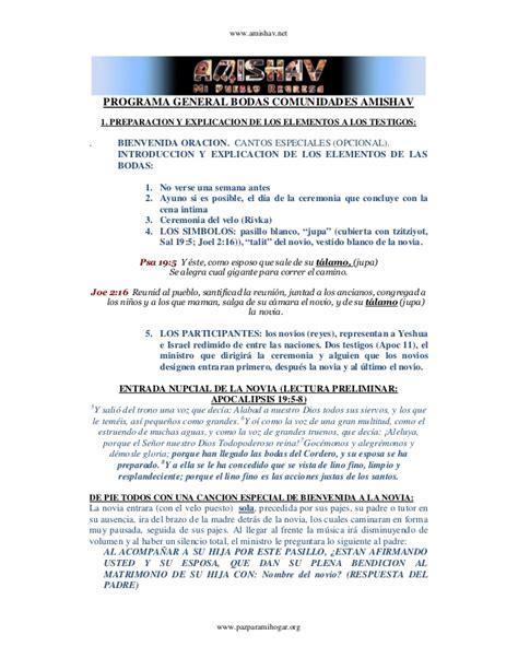 programa de recepcion de boda manual para ceremonia de bodas amishav