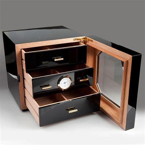 Cigar Box Drawers by 3 Drawers Cedar Wood Cigar Humidor Cabinet Black Cigar Box