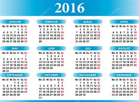 Calendario Aleman Kalender 2016 Alem 225 N Calendario 2016 Vector De