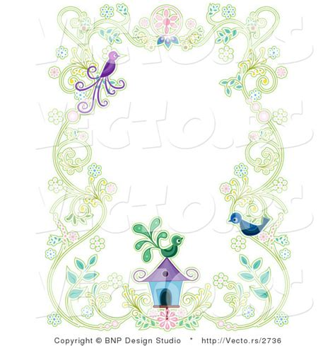 house border design vector of floral vines with two birds and a bird house background border design by
