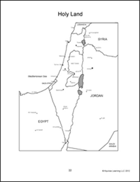 coloring page map of israel geography africa middle east and the holy land