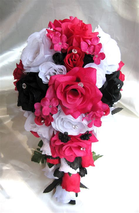 Starry Pink Bouquet Graduation Paper Flower wedding bouquet bridal flowers silk 17 package white