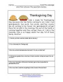thanksgiving comprehension printables thanksgiving reading amp math comprehension passage