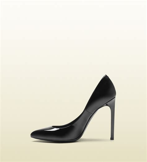 patent high heels gucci gloria black patent leather high heel in black