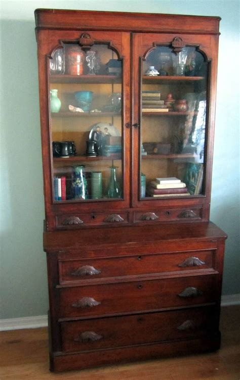 Bookcase With Cabinet Antique Walnut Eastlake Secretary Ca 1880 Drop Front Desk