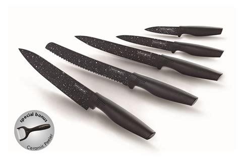 Knife Set Royalty Line non stick coating knife set 5pcs bonus peeler prepped
