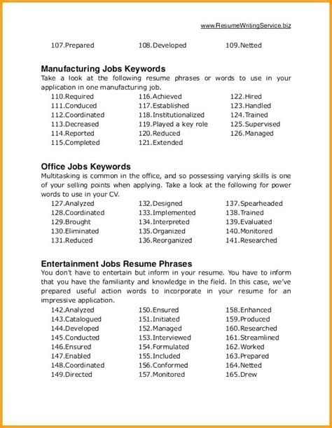 comfortable resume power words phrases contemporary