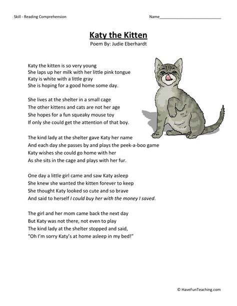 reading comprehension test online for cat reading comprehension worksheet katy the kitten