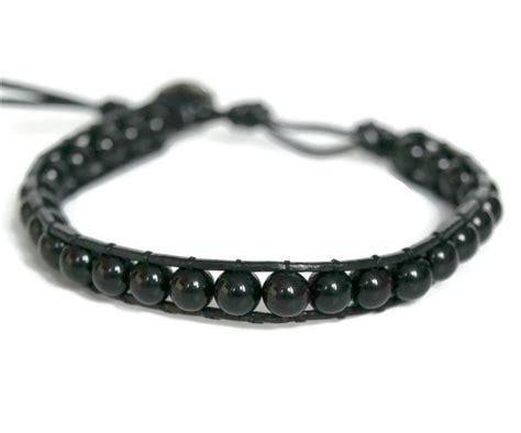 black and white bead bracelet black bead leather bracelet wristband beaded leather