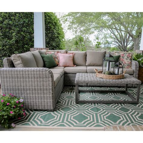 home depot outdoor sectional forsyth 5 piece wicker outdoor sectional set with tan