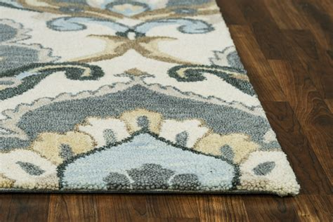 Leons Area Rugs Traditional Motifs Floral Wool Area Rug In Beige Gray Blue 8 X 10