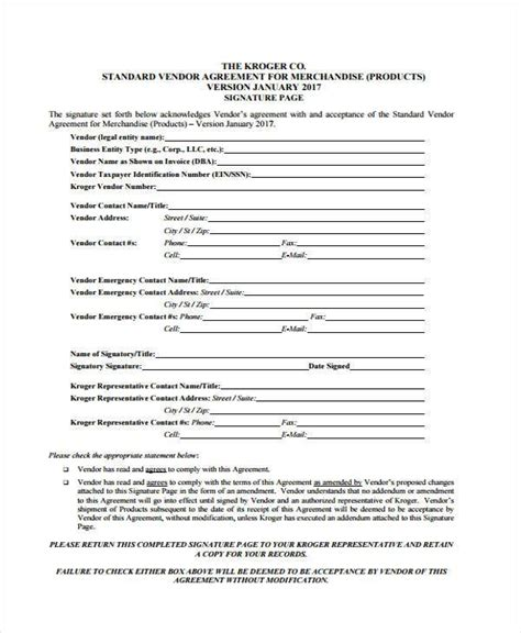 8 vendor agreement form sles free sle exle