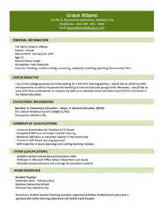 exles of resumes resume exle personal simple