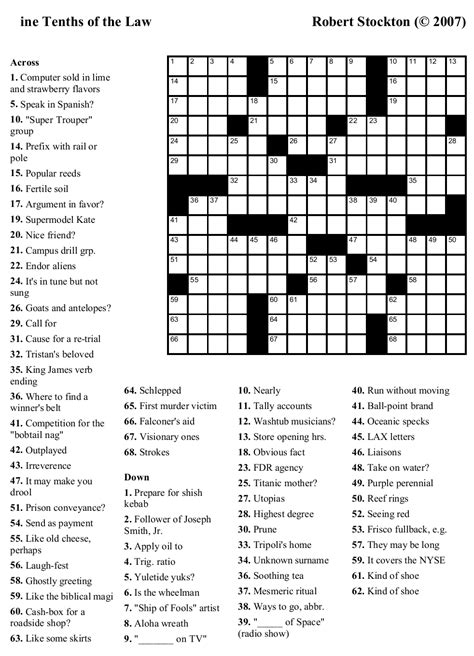 pictures free printable crossword puzzles newspaper