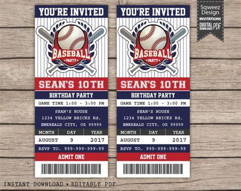 printable baseball tickets baseball birthday invitation baseball ticket invitation