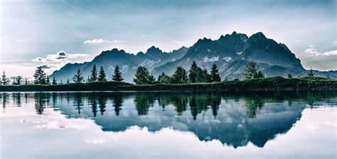 wallpaper mountains lake photoshop reflection