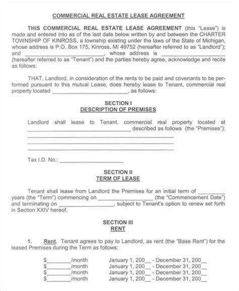 commercial real estate lease agreement template lease agreement form template