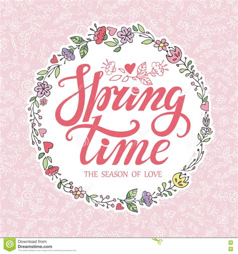 pattern design quotes spring time lettering pink floral wreath pattern stock
