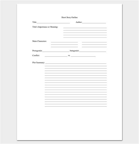 short story outline template 7 worksheets for word pdf