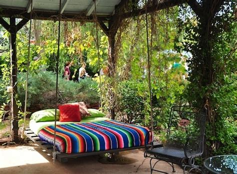 outdoor hanging bed bohemian swing bed top easy backyard garden decor design