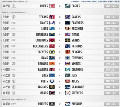 printable nfl season schedule nfl regular season schedule 2014 printable schedule