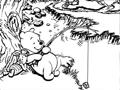 Winnie The Pooh And Piglet Rest And Fishing Coloring Page Winnie The Pooh And Piglet Coloring Pages