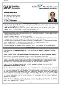 Sap Fico Sle Resume by Sap Fico Bharat Panchal Resume
