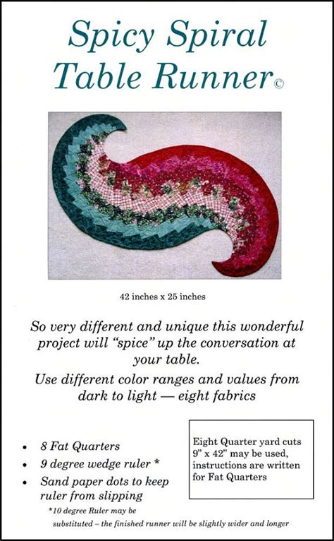spicy spiral table runner pattern by quiltedpear on etsy