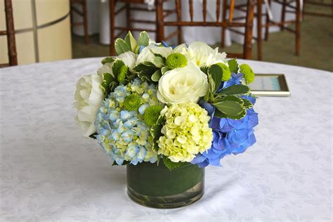 blue hydrangea centerpiece allison phalen floral design joe seaport hotel boston ma