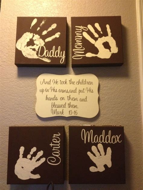 family crafts completed family handprints handprints