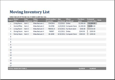 shipping inventory template moving inventory template