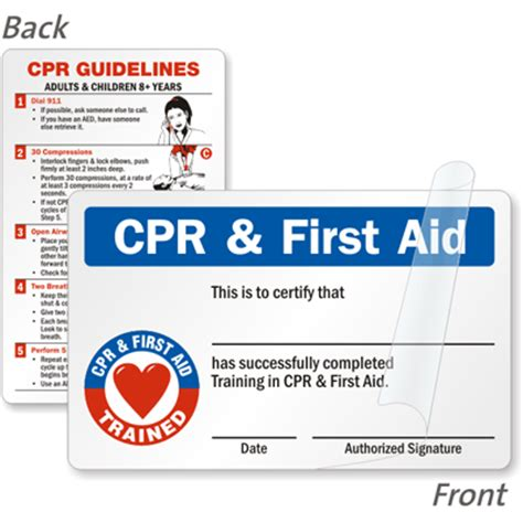 wallet size certification card template cpr aid trained self laminating 2 sided wallet