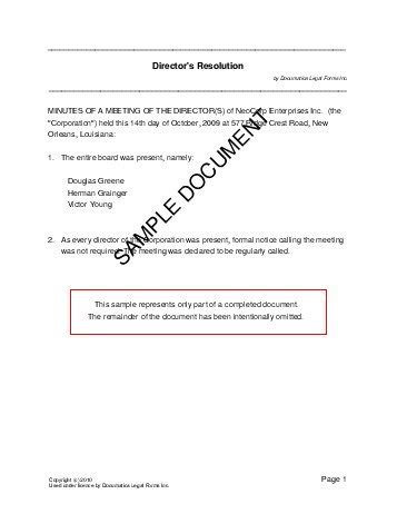 resolution document template directors resolution new zealand templates