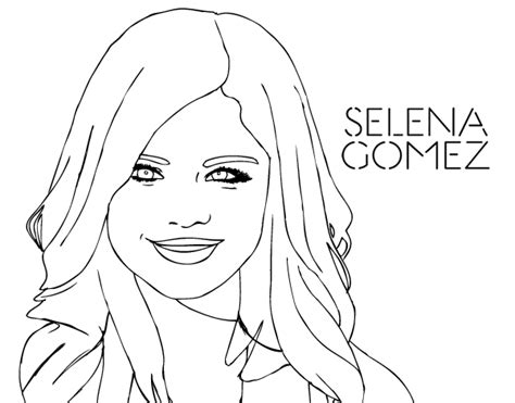 Selena Gomez Smiling Coloring Page Coloringcrew Com Selena Gomez Coloring Pages