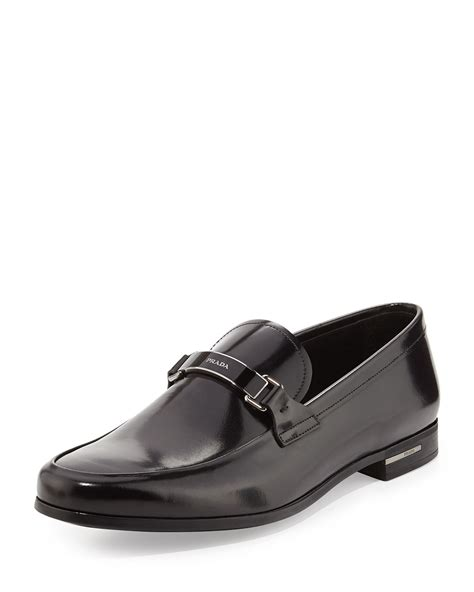 prada loafer prada spazzolato logo bit loafer in black for lyst