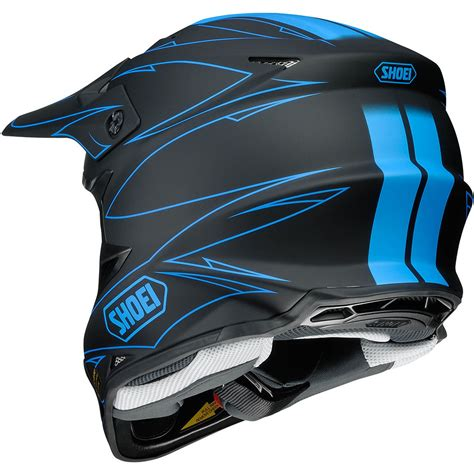 shoei motocross new shoei vfx w mx 2017 hectic tc 2 matte black blue