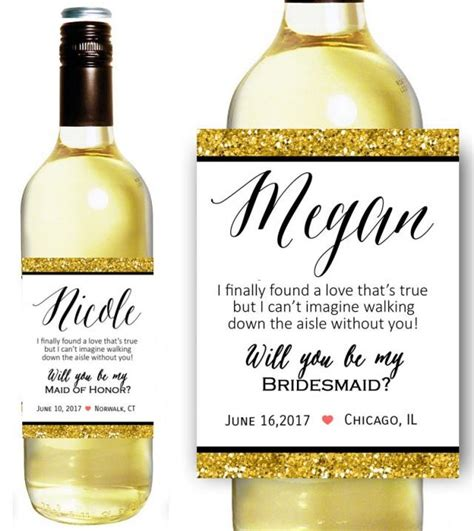 will you be my bridesmaid wine label template custom bridesmaid gift bridesmaid wine bottle