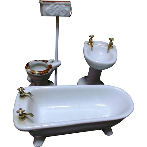 Porcelain Bathroom Fixtures Vintage Porcelain Ceramic Bathroom Fixtures Tub Sink Toilet Doll House Sold On Ruby