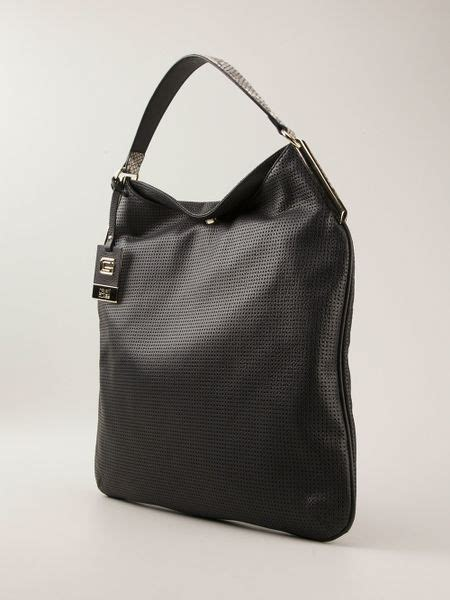 Roberto Cavalli Tote by Class Roberto Cavalli Camille Perforated Tote Bag In Black