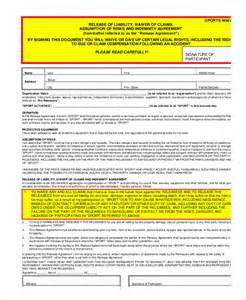 waiver form template for sports liability waiver form 11 free pdf documents